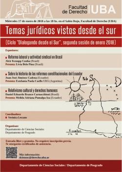 """Temas jurídicos vistos desde el sur (Ciclo """"Dialogando desde el Sur"""", segunda sesión de enero 2018)"""
