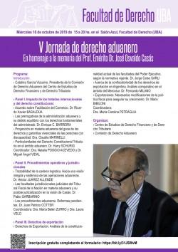 V Jornada de derecho aduanero. En homenaje a la memoria del Prof. Emérito Dr. José Osvaldo Casás