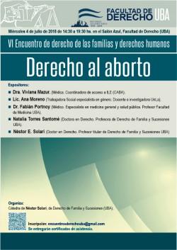 VI Encuentro de derecho de las familias y derechos humanos. Derecho al aborto