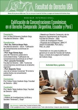 """Webinar Internacional """"Calificación de Concentraciones Económicas en el Derecho Comparado (Argentina, Ecuador y Perú)"""""""