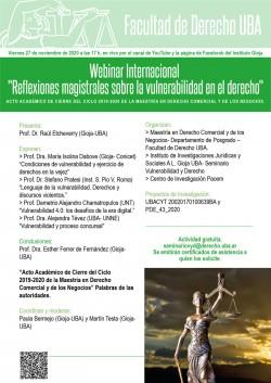 """Webinar Internacional """"Reflexiones magistrales sobre la vulnerabilidad en el derecho"""""""