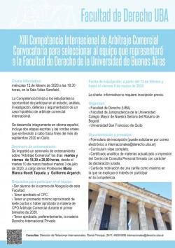 XIII Competencia Internacional de Arbitraje Comercial. Convocatoria para seleccionar al equipo que representará a la Facultad de Derecho de la Universidad de Buenos Aires