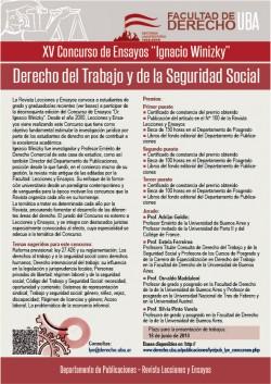 """XV Concurso de Ensayos """"Dr. Ignacio Winizky"""". Derecho del Trabajo y de la Seguridad Social"""