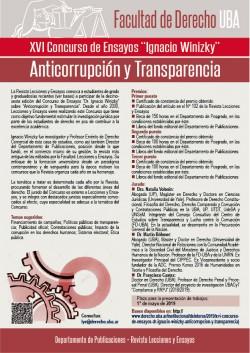 """XVI Concurso de Ensayos """"Dr. Ignacio Winizky"""". Anticorrupción y transparencia"""