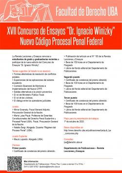 """XVII Concurso de Ensayos """"Dr. Ignacio Winizky"""". Nuevo Código Procesal Penal Federal"""