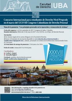 XVIII Concurso Internacional para estudiantes de Derecho Nivel Pregrado en el marco del XXXVIII Congreso Colombiano de Derecho Procesal