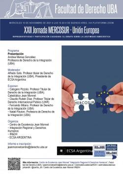 XXII Jornada MERCOSUR - Unión Europea. Representatividad y participación ciudadana: el debate sobre la legitimidad democrática