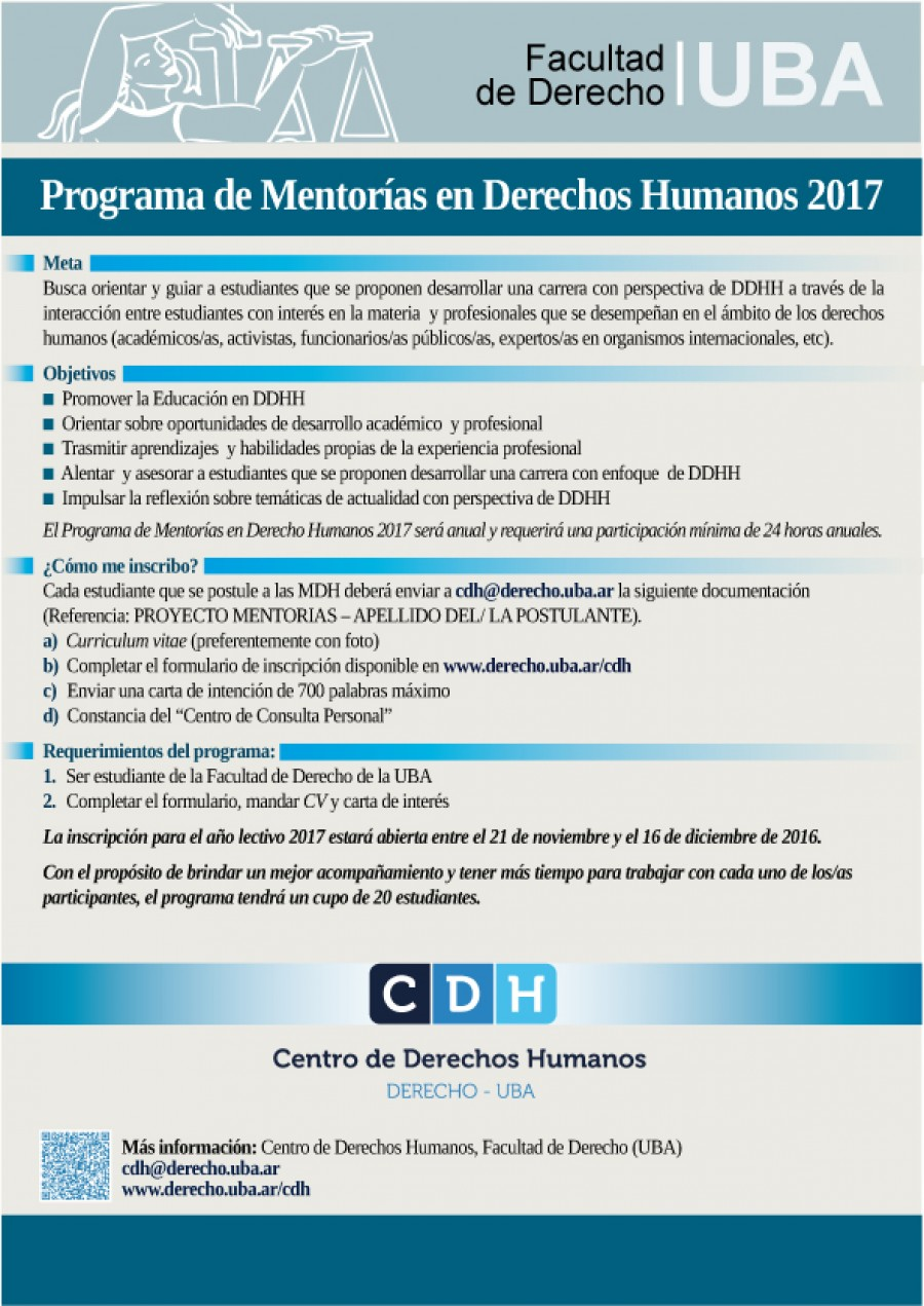 Programa de Mentorías en Derechos Humanos 2017 | Facultad de ...