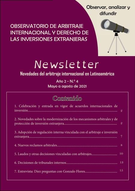Cuarto boletín informativo del Observatorio de Arbitraje Internacional y Derecho de las Inversiones Extranjeras