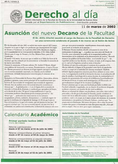 Tapa de Derecho al Día - Edición 1