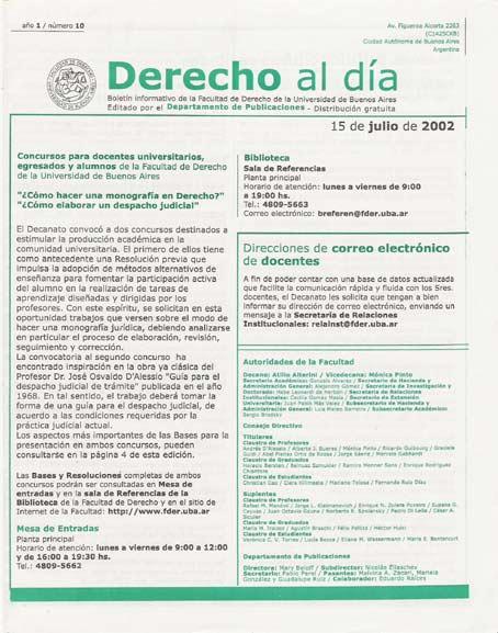 Tapa de Derecho al Día - Edición 10