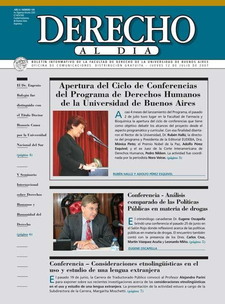 Tapa de Derecho al Día - Edición 109