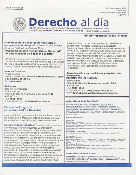 Tapa de Derecho al Día - Edición 11