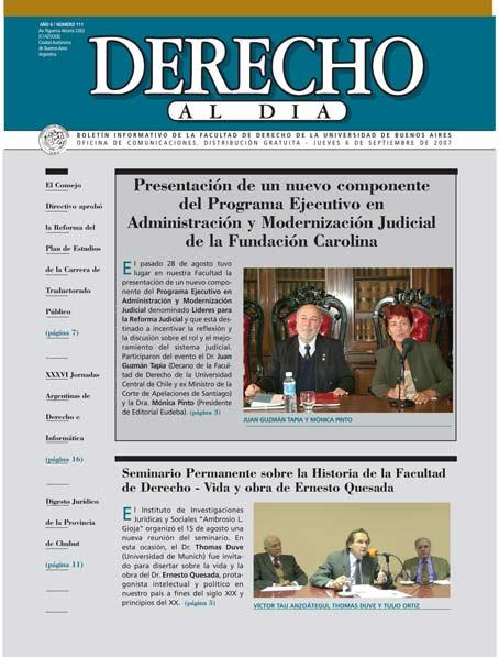 Tapa de Derecho al Día - Edición 111