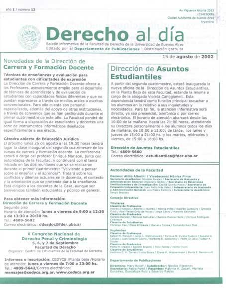Tapa de Derecho al Día - Edición 12