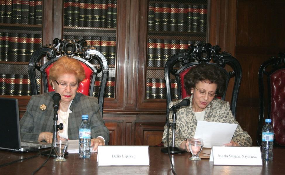 Delia Lipszyc y María Susana Najurieta
