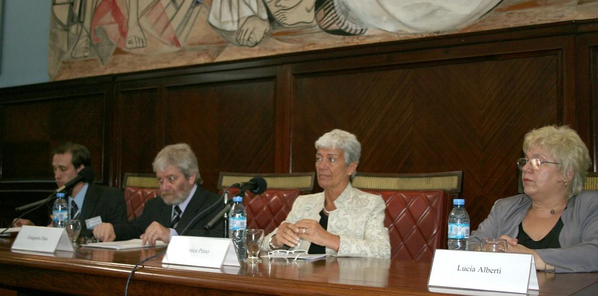 Facundo Christel, Gregorio Flax, Mónica Pinto y Lucía Alberti