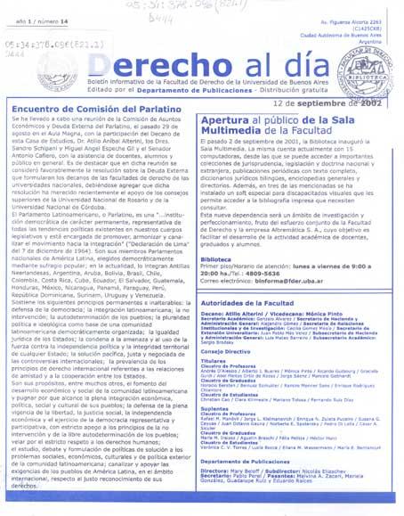 Tapa de Derecho al Día - Edición 14