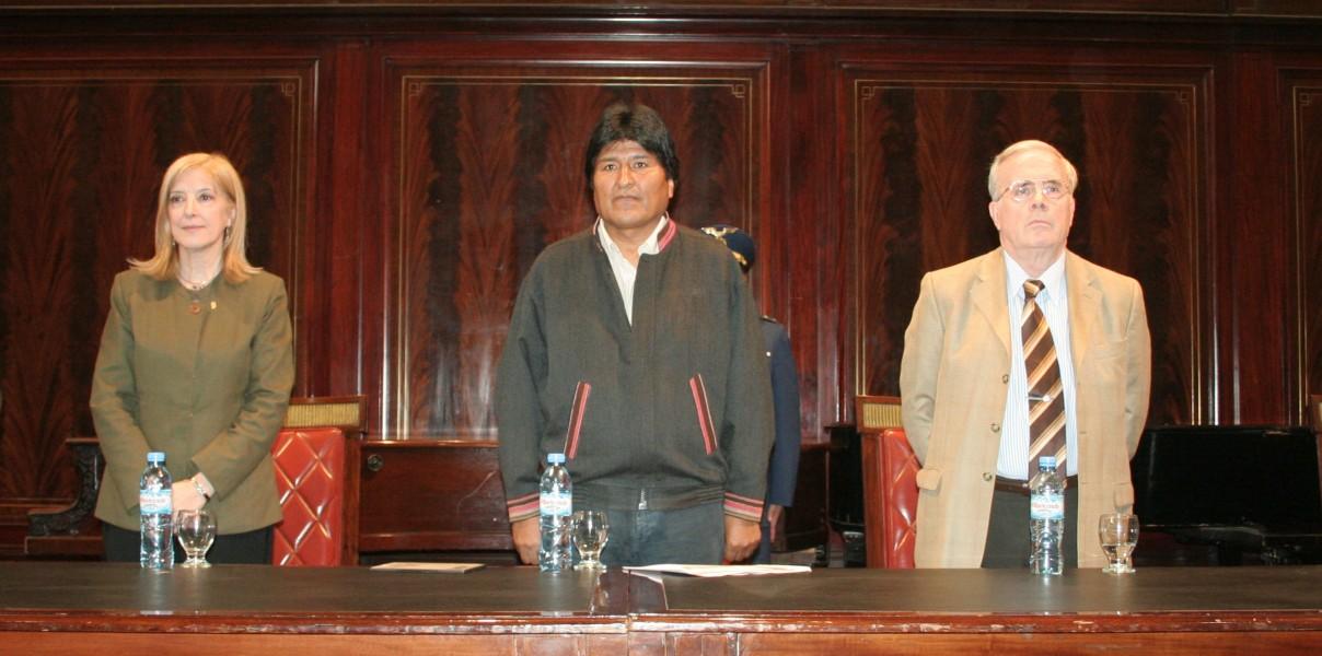 María Beatriz Guglielmotti, Evo Morales y Tulio Ortiz