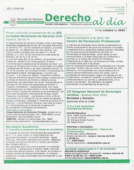 Tapa de Derecho al Día - Edición 16