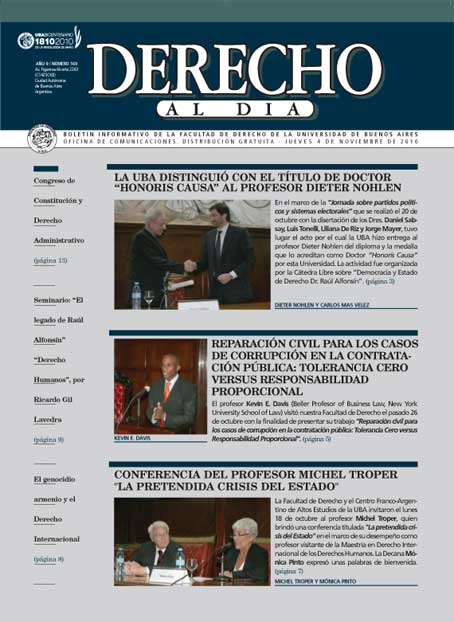 Tapa de Derecho al Día - Edición 169