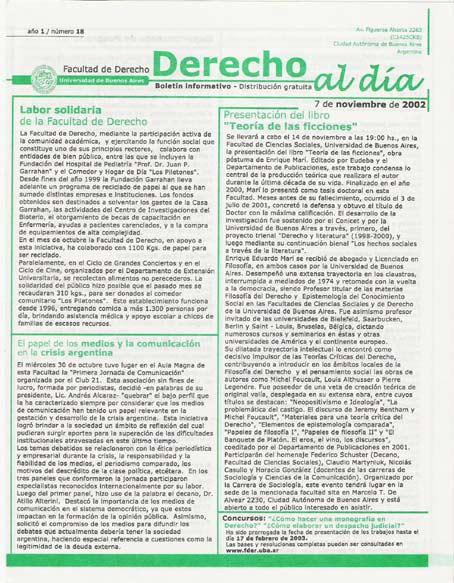 Tapa de Derecho al Día - Edición 18
