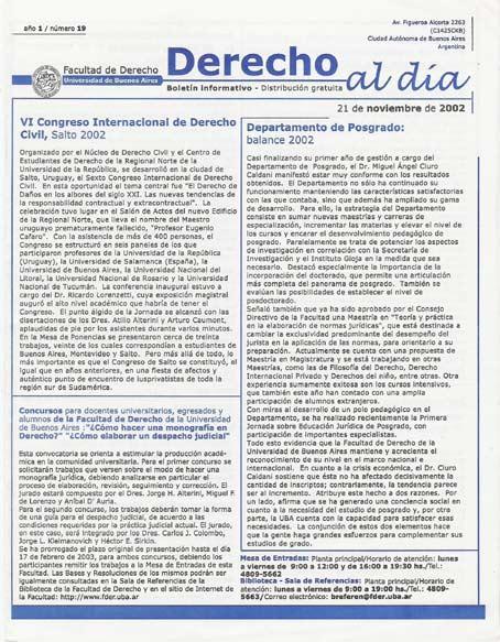 Tapa de Derecho al Día - Edición 19
