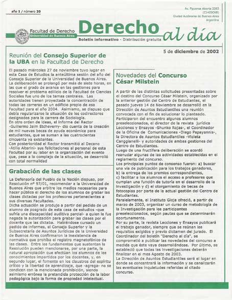 Tapa de Derecho al Día - Edición 20