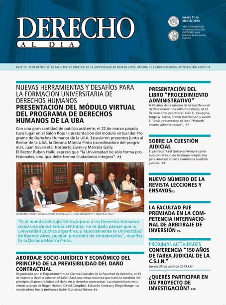 Tapa de Derecho al Día - Edición 208
