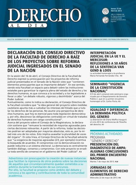 Tapa de Derecho al Día - Edición 209