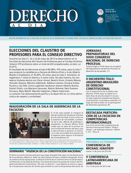 Tapa de Derecho al Día - Edición 212