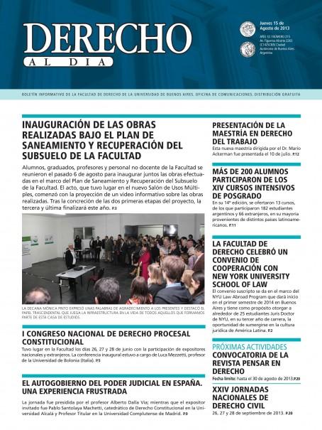 Tapa de Derecho al Día - Edición 215