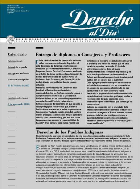 Tapa de Derecho al Día - Edición 22