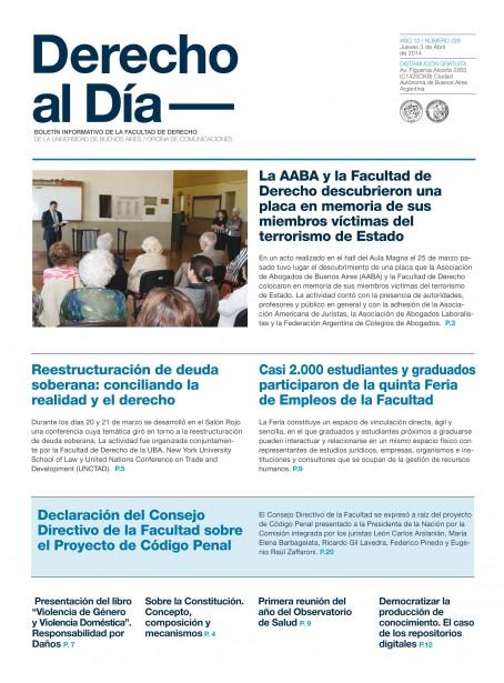 Tapa de Derecho al Día - Edición 226