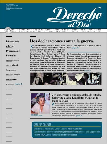 Tapa de Derecho al Día - Edición 25