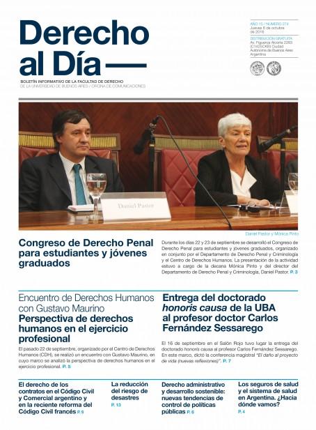 Tapa de Derecho al Día - Edición 274