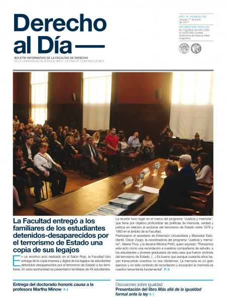 Tapa de Derecho al Día - Edición 285
