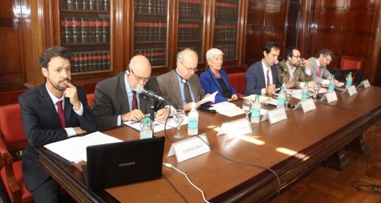 Emiliano J. Buis, Horacio Ravenna, Emmanuel Decaux, Mónica Pinto, Olivier de Frouville, Luciano Hazán y Fabián Salvioli