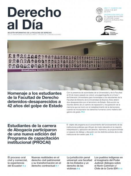Tapa de Derecho al Día - Edición 299