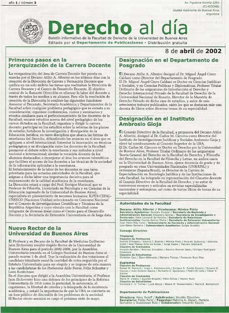 Tapa de Derecho al Día - Edición 3