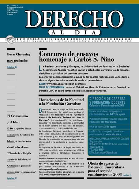Tapa de Derecho al Día - Edición 31