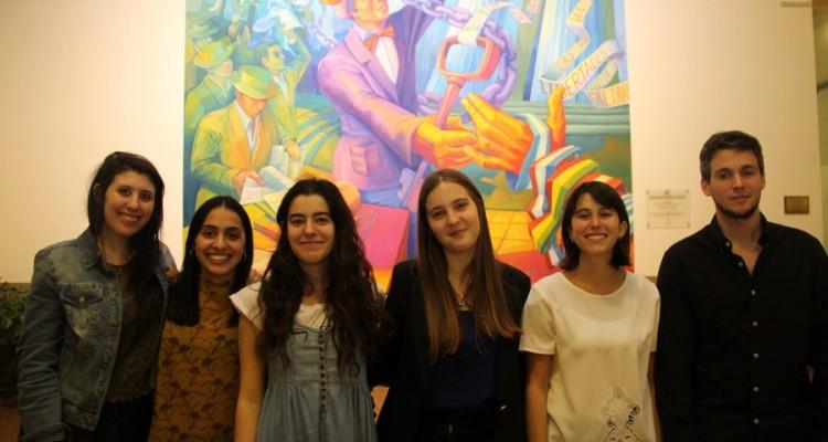 María Barraco, Camila Farías, Victoria Llorente, Paula Rivero, Clara Lucarella y Kevin Gerenni