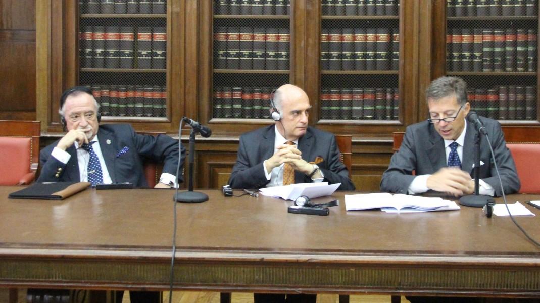 Edgardo Saux, Luis F. P. Leiva Fernández y Francesco Delfini