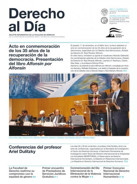 Tapa de Derecho al Día - Edición 315