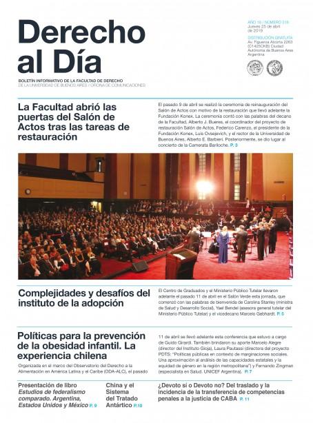 Tapa de Derecho al Día - Edición 318