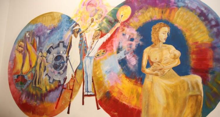 Mural del lactario realizado por el Taller de Mural de la Facultad de Derecho (UBA), coordinado por Zulma García Cuerva