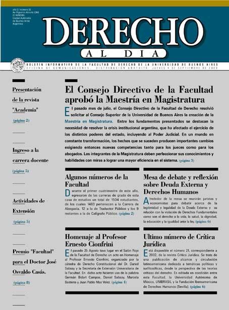 Tapa de Derecho al Día - Edición 33