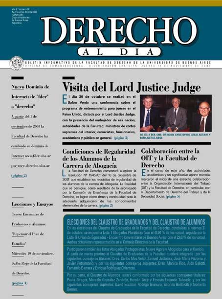 Tapa de Derecho al Día - Edición 38
