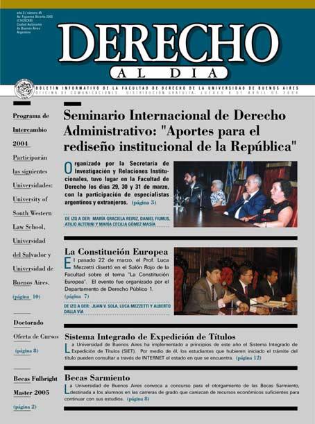 Tapa de Derecho al Día - Edición 45