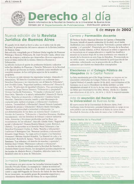 Tapa de Derecho al Día - Edición 5